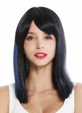 Peluca Mujer hasta los Hombros Liso Flequillo con Raya Negro Azul Resalta
