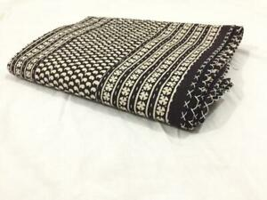 BLACK INDIAN COTTON KANTHA QUILT THROW TWIN SIZE HANDMADE BEDSPREAD 188