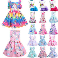 Kids Baby Girl Unicorn Dress Princess Summer Holiday Party Tutu Dresses Clothes