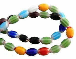 30 Millefiori Random Assorted Murano Glass 12x7mm Oval Murano Glass Focal Beads