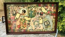 Antique Vintage Retro Beautiful Wooden Serving Tray With Glass Top *