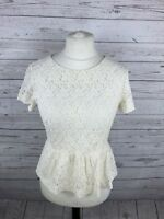 FRENCH CONNECTION Lace Top - Size UK12 - Cream - Great Condition - Women's