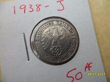 German 50 Reichspfennig 1938-J Scarce Third Reich Nickel Coin WW2 pf