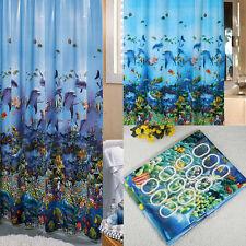 Waterproof Ocean Sea Life Bathroom Shower Curtain &12 X Hooks Ring 180cm x 180cm