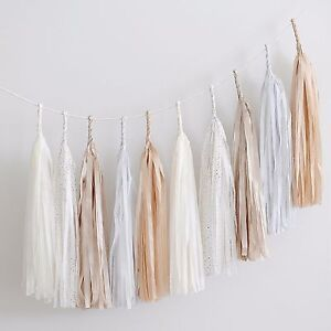 Nude, champagne and bit of gold paper tassel garland - fully assembled