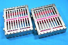 2 German Dental Autoclave Sterilization Cassette Box Tray For 10 Instrument Pink