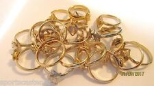 24 LOT Ladies Goldtone & Silvertone Marquis Shaped Adjustable Rings Add A Stone