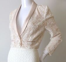REVIEW Size 8 US 4 Crop  Pink Lace Jacket rrp $249.95