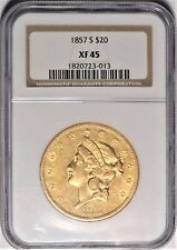 1857-S $20 NGC XF 45 Choice Extremely Fine Gold Liberty Double Eagle Coin