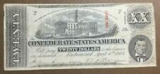 1863 $20 Us Confederate States of America! Old Us Currency! Vg/Fine!
