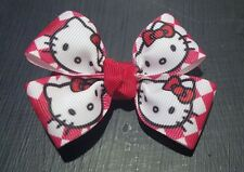 Lot of 2 Hello kitty red checkered hair bows toddler girl alligator clip