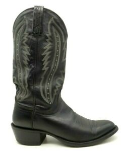 Lucchese 2000 Black Leather Cowboy Western Boots Shoes Men's 8 D