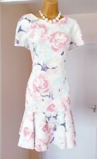 M&S White Pink Floral Mermaid Summer Tea Party Wiggle Scuba Dress - Size 16