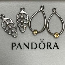 Retired Pandora Silver Citrine Compose Earrings 290622CI & Feather CZ 290629CCZ