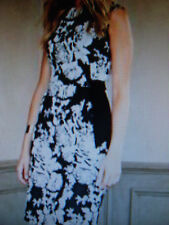 "PHASE EIGHT/8 ""KAREN"" JACQUARD BLACK/CREAM FAUX WRAP FLORAL DRESS - SZ 18 - BNWT"
