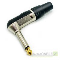 HICON 6,3mm Klinkenstecker 2-pol male 90° gewinkelt Goldtip max 8mm   HI-J63MA06