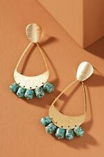 NWT ANTHROPOLOGIE MICHAELA METAL CHANDELIER DROP EARRINGS PIERCED TURQUOISE BLUE