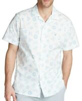 Nautica Mens White 2XL Classic Fit Blue-Sail Icon Print Button Shirt $59 #013
