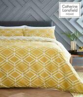 Catherine Lansfield DOUBLE Network Geo Ochre Duvet Quilt Cover Bedding Set