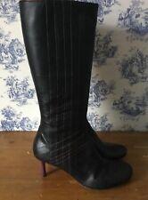 Señoras MISS SIXTY Mitad de Pantorrilla Botas Stiletto Tacón Alto De Cuero Negro tamaño de Uk 6 EU 39