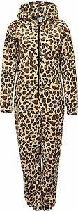 Unisex Mens Ladies Hooded Zip-up Fleece Bodysuit, Jumpsuit Leopard Print KK06