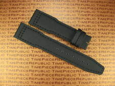 New 21mm Black Leather Strap TOILE Fabric Watch Band IWC PILOT Portuguese x1 BK