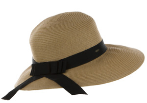 C.C Women's Packable Wide Brim Paper Straw Floppy Hat SPF50 Protection ST-14