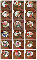 Chinese Japanese Oriental Flowers Canvas Wooden Handle ROUND Hand Fan UK