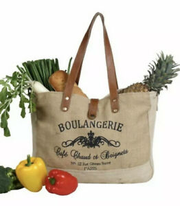 Myra Bag Wholesome Organic Market Bag Brown Leather Accents Frenchy Jute Tote