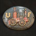 Vintage Metal UF United Firefighter Insurance Steam Fire Engine Plaque Sign