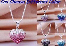 20 pcs/lot mixed clay gradual change crystal heart shamballa necklace pendant