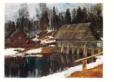 Unposted 1959 Russian postcard DAM IN THE VILLAGE by S.Zhukovsky