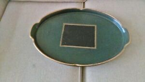 Large Vintage Oval Wooden Butler Serving Tray from P&O Ship w/ felt lined back