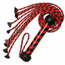 Real Genuine Cow Hide Leather Flogger 9 Braided Falls Red & Black Heavy Duty