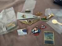 Collectible pins - airline, college, bank variety - set of 12 items