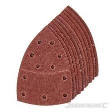 10 x Hook & Loop Triangle Sanding Sandpaper Sheet 120 Grit For 93mm Multi Sander