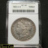 1892-S Morgan Silver Dollar $1 Anacs EF40 90% Silver Key Date Old Anacs