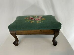 Queen Anne Wood Green Floral Needlepoint Foot Stool