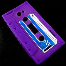 HTC ONE X / EDGE S720e Retro Tape Kassette Handy Case Cover Hülle Tasche Lila