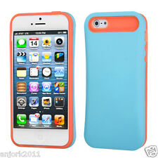 Apple iPhone 5 Hybrid Back Cover Skin Case Pastel Silicone Blue Orange