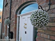 2 Best Artificial 28cm White Rose Topiary Hanging Flower Balls Grass Plant New