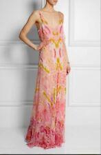 NWT Roberto Cavalli Abstract Print Silk Maxi Dress Gown 40/4 3K