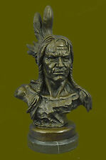 Native American Indian Warrior Chief Bronze Bust Sculpture Statue Figurine Art