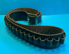 Old Vintage Collectible Bucheimer Black Leather Ammo Belt Has Buckle Size 36