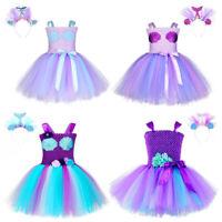 Kids Mermaid Ariel  princess Party Tutu Dress flower girl Dress birthday gift