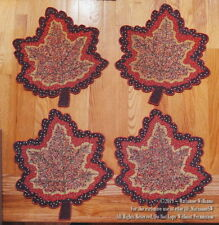 4 FALL THANKSGIVING BEADED PLACEMATS CHARGERS MAPLE LEAF SHAPE LEAVES FALL COLOR