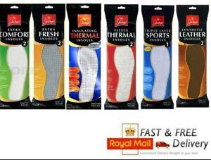2PK Shoe Insoles Insert Extra Comfort Sports Anti Odours Mens Women UK Size 3-11