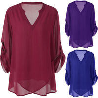 Womens Plus Size Summer Beach V-Neck Blouse Chiffon Solid Shirt Top Pullover AU