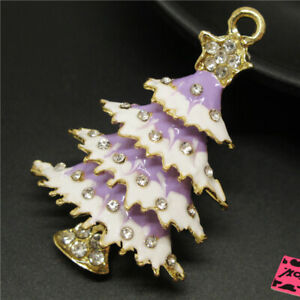 Shine Purple Enamel Bling Christmas Tree  Betsey Johnson Charm Brooch Pin Gifts