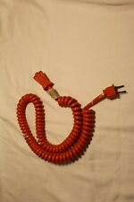 Vintage 70s? Red Coiled Extension Ac Power Cord ReTro 2 Prong Works